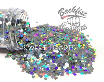 SWEET HEARTS || Heart Shaped Chunky Glitter, Solvent Resistant
