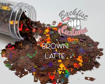 BROWN LATTE || Coffee Cup Shaped Glitter