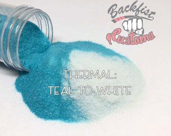 THERMAL TEAL to WHITE || Heat Activated Glitter changes from Teal to White