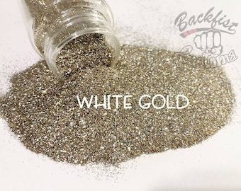 WHITE GOLD  || Opaque Fine Glitter, Solvent Resistant
