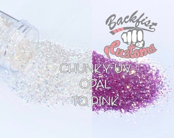 Chunky Opal to Pink     Chunky UV Activated Glitter changes from White to Pink