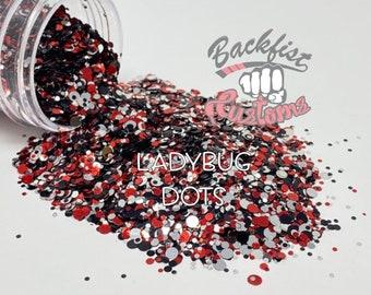 LADYBUG DOTS || Red And Black Dot Shaped Glitter
