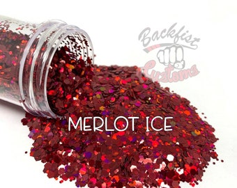 MERLOT ICE  || Solvent Resistant, Chunky Mix Holographic Glitter