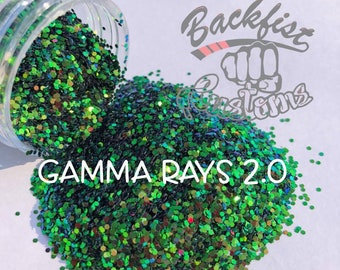 GAMMA RAYS 2.0 ( Green )  || Solvent Resistant, Chunky Color Shift Glitter
