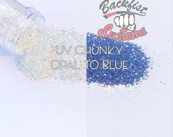 Chunky Opal to Blue     Chunky UV Activated Glitter changes from Opal to Blue in the sun