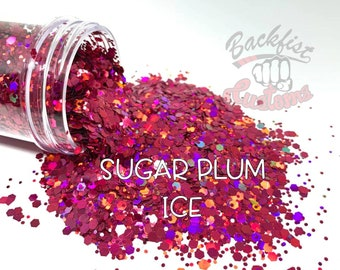 SUGAR PLUM ICE  || Solvent Resistant, Chunky Mix Holographic Glitter