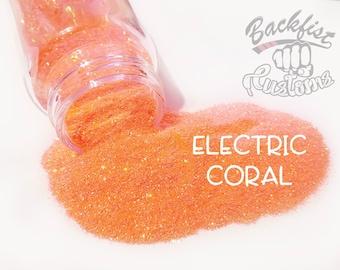 ELECTRIC CORAL    Neon, Transparent Fine Glitter, Solvent Resistant