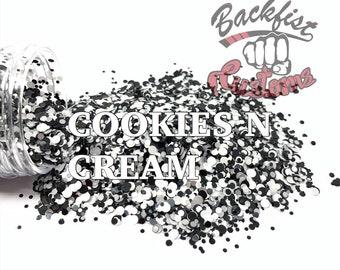 COOKIES n CREAM DOTS    Multi Shaped Black and White Glitter confetti