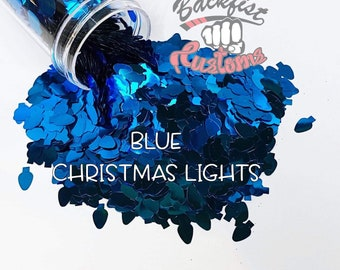 BLUE CHRISTMAS LIGHTS || Christmas Light bulb  Shaped Glitter