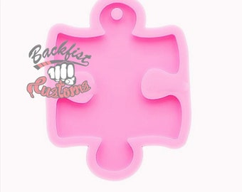 PUZZLE PIECE Keychain 2.75in x 2in mold || 1 Silicone mold