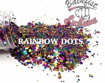 RAINBOW DOTS    Rainbow Dot Shaped Glitter