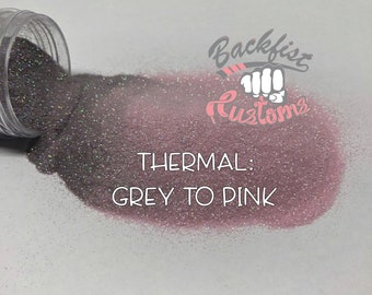 THERMAL GREY to PINK  || Heat Activated Glitter changes from Grey to Pink