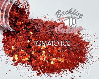 TOMATO ICE  || Solvent Resistant, Chunky Mix Holographic Glitter