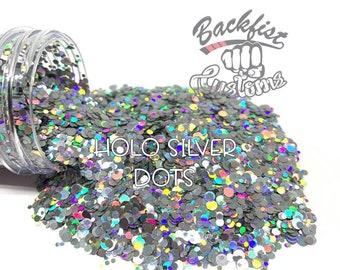 HOLO SILVER DOTS || Multi Shaped  Glitter Dots