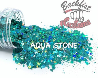 AQUA STONE  || Solvent Resistant, Chunky Mix Holographic Glitter