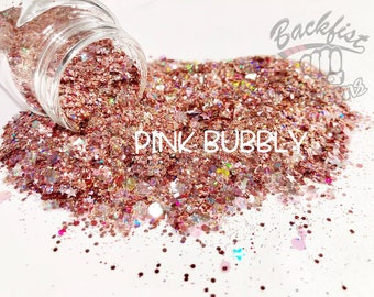 PINK BUBBLY || Chunky Glitter Mix, Solvent Resistant