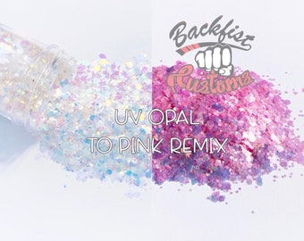 UV Opal to Pink Remix || Chunky Mix UV Activated Glitter changes from White to Pink