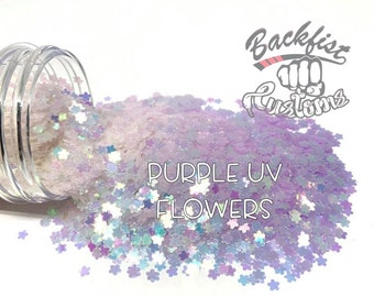 PURPLE UV FLOWERS    Flower Shaped Uv Activated Glitter changes from White to Purple