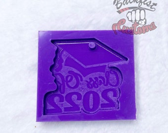Graduate Class of 2022 Keychain Mold 2.25in x 2.25in  1.3oz || Silicone mold