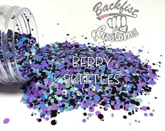 BERRY SKITTLES DOTS    Multi Shaped  Glitter Dots