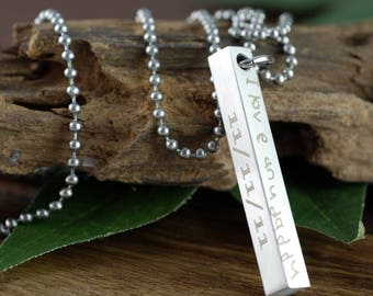 Personalized Engraved Bar Necklace, 4 Sided Bar Necklace, Engraved Men's Necklace, Actual Handwriting Jewelry, Gift for Dad, Husband