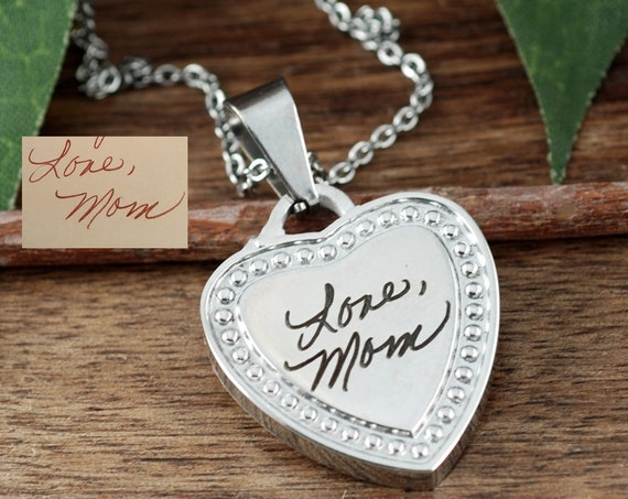 Actual Signature Necklace, Actual Handwriting Necklace, Custom Handwriting Jewelry, Engraved Heart Necklace, Memorial Handwritten Necklace