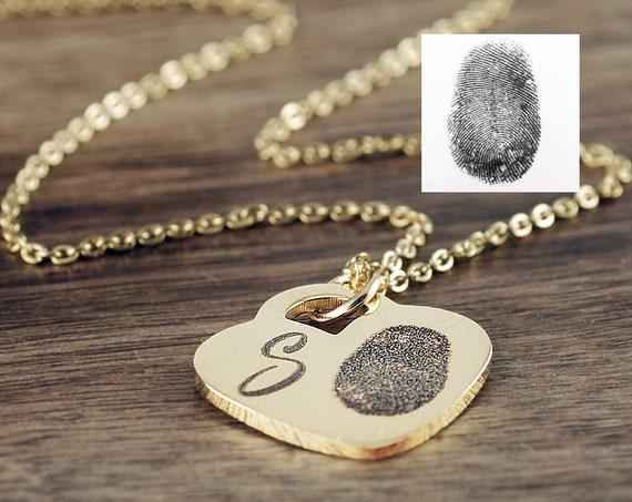 Actual Fingerprint Necklace, Fingerprint Jewelry, Memorial Necklace, Loss of Parent, Actual Paw Print, Pet Memorial Necklace