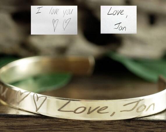 Gold Signature Cuff Bracelet, Handwriting Cuff Bracelet, Engraved Cuff Bracelet, Personalized Gift, Engraved Bracelet, Message Cuff Bracelet