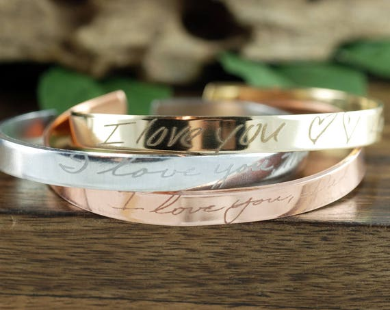 Actual Handwriting Cuff Bracelet, Signature Cuff Bracelet, Engraved Cuff Bracelet, Personalized Gift, Engraved Bracelet, Memorial Jewelry