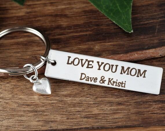 Mom Key Chain, Personalized Keychain for Mom, Mother's Day Gift, Mother's Keychain, Personalized Engraved Keychain, Bar Keychain, Mom Gift
