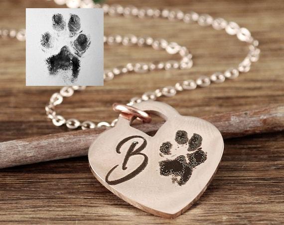 Actual Paw Print Necklace, Actual Fingerprint Necklace, Fingerprint Jewelry, Memorial Necklace, Loss of Pet, Pet Memorial Necklace