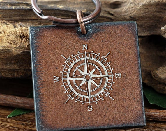 Coordinate Keychain, Compass Keychain, Latitude Longitude Keychain, Christmas Gift for Dad, Men's Personalized Keychain, Gift for Him