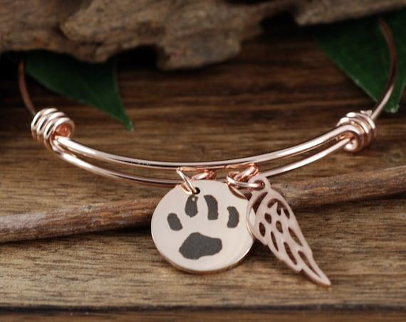 Your Pets Actual Paw Print, Actual Pet Paw Bracelet, Pet Paw Jewelry, Angel Wing Bracelet, Pet Memorial Charm Bracelet, Memorial Jewelry