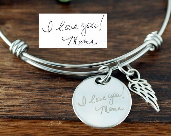 Custom Handwriting Memorial Jewelry, Actual Handwriting Bracelet, Personalized Memorial Bracelet, Bereavement Bracelet, Sympathy Gift