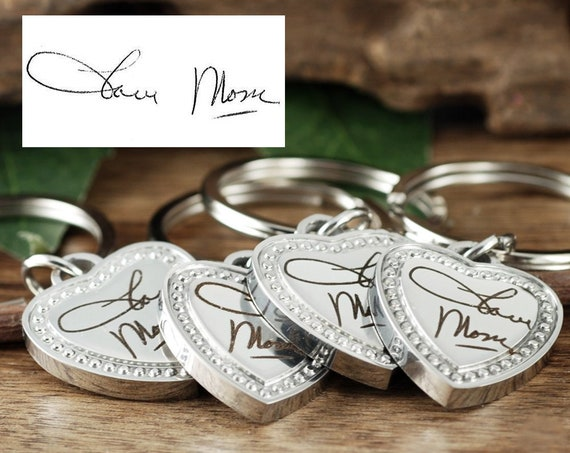 Heart Jewelry Gifts for Mom, Personalized Valentines Day Gift, Handwriting Keychain, Personalized Keychain, Engraved Signature Gift