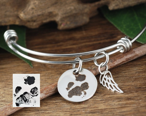 Pet Memorial Charm Bracelet, Actual Paw Print Bracelet, Actual Pet Paw Bracelet, Pet Paw Jewelry, Angel Wing Bracelet, Memorial Jewelry