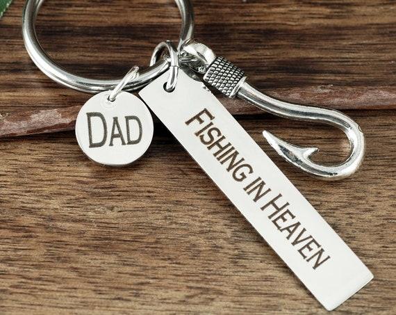 Fishing in Heaven Key Chain, Fishing in heaven Jewelry, Memorial Gift, Bereavement, loss of lovedDad, remembrance Keychain