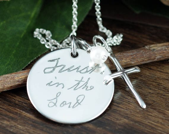 Custom Handwriting Necklace, Actual Handwriting Necklace, Personalized Engraved Necklace, Gift for Mom, Wife, Custom Engraved Jewelry