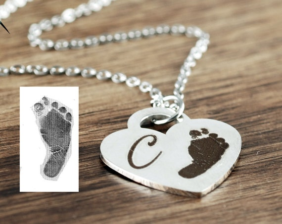 Actual Footprint Necklace, Actual Fingerprint Necklace, Footprint Jewelry, Memorial Necklace, Loss of Child, Miscarriage Loss Gift
