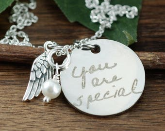 Custom Handwriting Jewelry, Handwritten Necklace, Actual Handwriting, Engraved Necklace, Signature Jewelry, Gift for her, Memorial Necklace