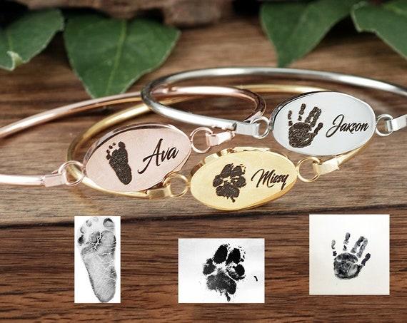 Hand Print Bangle Bracelet, Fingerprint Jewelry, Memorial Bracelet, Hand Print, Foot Print, Actual Paw Print, Children's Hand, Keepsake GIft