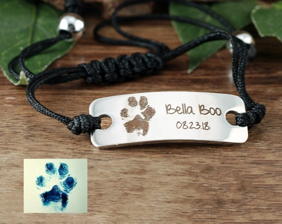 Actual Paw Print Bracelet, Engraved Pet Paw Jewelry, Gift for Dog Mom, Custom Engraved Bracelet, Personalized Gift, Pet Memorial Bracelet