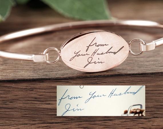 Handwriting Bangle Bracelet, Rose Gold Handwriting Jewelry, Personalized Engraved Bracelet, Memorial Bracelet, Gift for Her, Sympathy Gift
