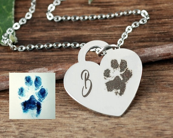 Actual Dog Paw Necklace, Actual Paw Print Necklace, Footprint Jewelry, Memorial Necklace, Loss of Pet, Custom Engraved Necklace