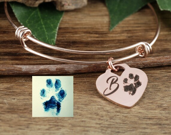 Actual Paw Print Jewelry, Actual Finger Print Bracelet, Fingerprint Jewelry, Memorial Bracelet, Actual Foot Print, Pet Memorial Bracelet,