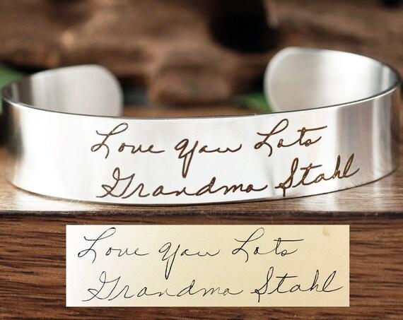 Handwriting Cuff Bracelet, Stainless Steel Bracelet, Personalized Engraved Bracelet, Signature Handwriting Bracelet, Actual Handwriting Gift