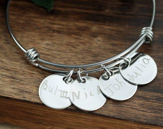 Kids Handwriting Bracelet, Actual Handwriting Bracelet, Personalized Engraved Bracelet, Gift for Mom, Custom Engraved Bangle, Gift for Her