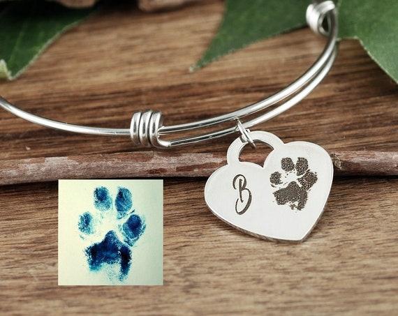 Actual Paw Print Jewelry,  Pet Memorial Bracelet, Actual Finger Print Bracelet, Fingerprint Jewelry, Memorial Bracelet, Dog Mom Gift
