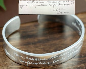 Memorial Handwriting Bracelet, Signature Jewelry, Handwriting Jewelry,Personalized Engraved Gift, Loss of Loved One, Custom Engraved Jewelry