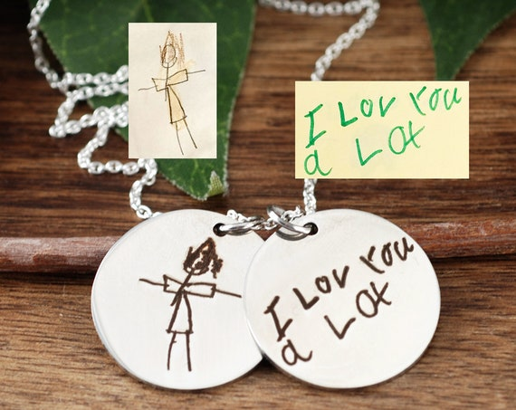 Custom Handwriting Necklace, Mother's Day Gift, Kids Handwriting Jewelry, Kids Signature Engraved Necklace, Artwork Necklace, Gift for Mom